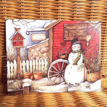 スーザンウィンゲットのクリスマスカード 限定数のみ入荷 春の新作続々 LANG ラング Barn Christmas クリスマスカード セール商品 園芸小屋前のスノーマン