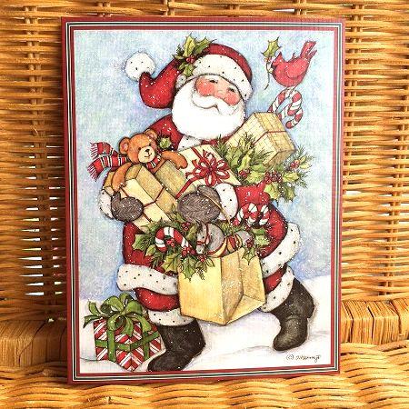 スーザンウィンゲットのクリスマスカード わずかのみ入荷 LANG ラング クリスマスカード Cane プレゼントを抱えたサンタさん 高級 Candy マーケティング Santa
