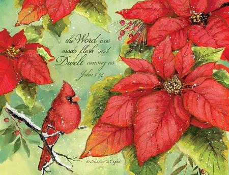低価格化 スーザンウィンゲットのクリスマスカード LANG ラング クリスマスカード Poinsettia Grace ポインセチアとコウカンチョウ 日本