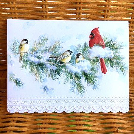 エンボス加工された美しいクリスマスカード USA Carol マート 1年保証 Wilson 野鳥 クリスマスカード キャロルウィルソン Cardinals