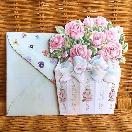 貴重なアメリカ製 日本正規代理店品 美しい多目的カード USA Carol Wilson キャロルウィルソン ダイカットカードFlower Bouquet [宅送] Boutique Rose