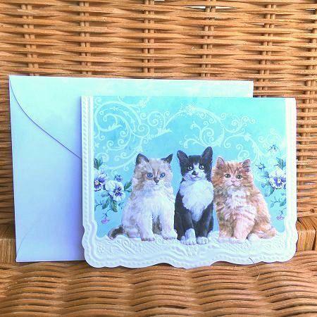 わずかのみ入荷 可愛いネコちゃんのカード 入手困難 レア 日本未発売 USA Wilson 3匹のネコちゃん Carol 多目的カード 大特価 キャロルウィルソン