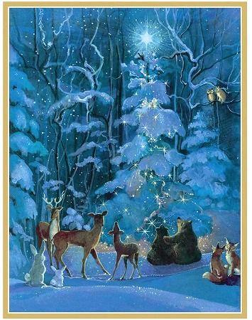美しいブルーの世界 限定数のみ Caspariカスパリ クリスマスカード ツリーと森の動物達 メーカー在庫限り品 Tree Around Animals Forest 直送商品