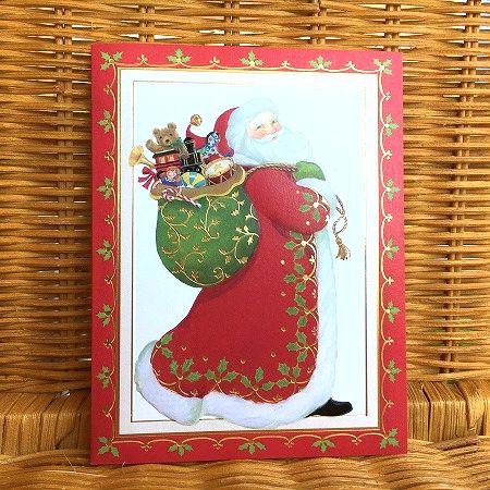 美しいプリントのクリスマスカード 限定数のみ入荷 超目玉 Caspari カスパリ オールドサンタ クリスマスカード ファッション通販