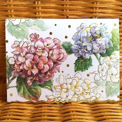美しいアジサイの多目的カード 新入荷 Carol Wilson デポー キャロルウィルソン 多目的カード Classic Hydrangea 国内即発送 3色のアジサイ