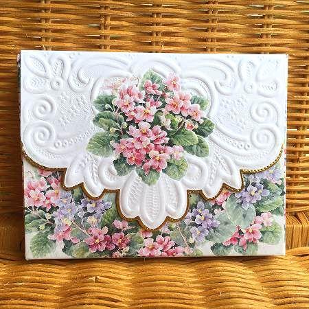 ピンクの小花が可愛い セントポーリアのカード Carol Wilson キャロルウィルソン 低廉 激安通販 BOX入り多目的カード Violet African