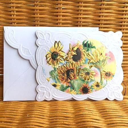 迅速な対応で商品をお届け致します 元気のでるヒマワリのカード 2021年新作 Carol Wilson キャロルウィルソン 多目的カード 品質検査済 Sunflower ヒマワリ