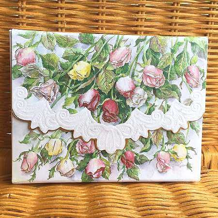 美しい一枝のピンクローズのカード Carol 公式ストア Wilson キャロルウィルソン Roses 多目的カードBOX入り 予約販売 Long Stemmed