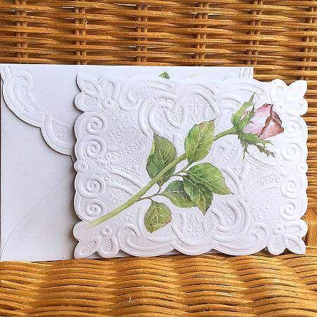 美しい一枝のピンクローズのカード 内祝い Carol Wilson キャロルウィルソン多目的カード 当店は最高な サービスを提供します Roses Long Stemmed
