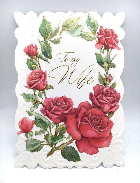 赤い薔薇の美しい母の日カード 妻用 Carol Wilson 通常便なら送料無料 キャロルウィルソン母の日カード 最新 Red Border Rose Wife