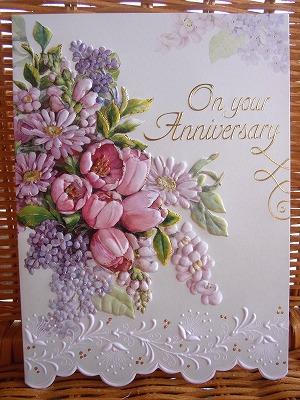 美しい花々のアニバーサリーカード Carol Wilson キャロルウィルソン 開店記念セール 大判 アニバーサリーカード Bouque プレゼント