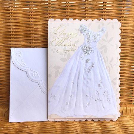 ウェディングドレス型の美しいカード Carol Wilson キャロルウィルソン 新作入荷!! 結婚祝い 上等 Dress 大判 White Wedding ウェディングカード