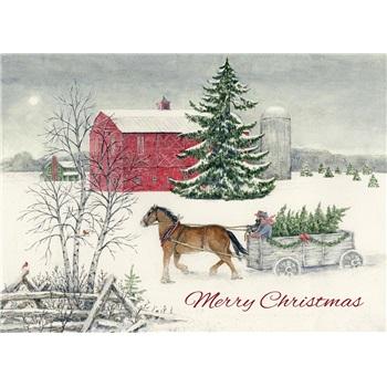 アメリカより直輸入 美しいクリスマスカード 在庫限り USA Legacy レガシー お金を節約 Christmas Wagon クリスマスカー HBX41917