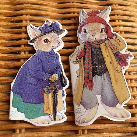ヴィンテージ 可愛いウサギさんのカード レア 結婚祝い 定番キャンバス ダイカット ミニカード ウサギさん Hopper Rabbit 1
