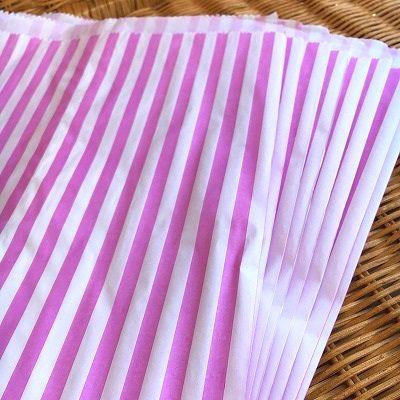 大き目サイズの紙袋 マチなし 正規店 イギリスより直輸入 限定数のみ 紙袋 A4大き目サイズ ストライプ柄 開店祝い 10枚セット ピンク