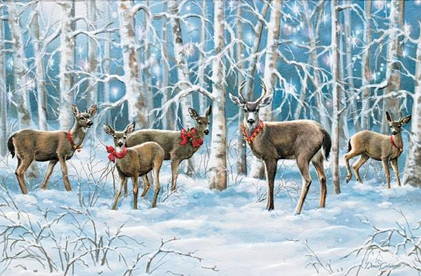 スーパーSALE セール期間限定 飾っておきたくなる超大判クリスマスカード 限定数のみ USA Pumpernickel Press クリスマスカード Dona Majestic Moonlight 一部予約 超大判 森の中の鹿 Gelsinger