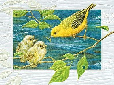 美しいお色の小鳥のカード USA Pumpernickel Press Yellow Warbler 子育て中のウグイス 全店販売中 テレビで話題 多目的カード