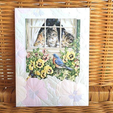 いよいよ人気ブランド 子猫と青い鳥の可愛いカード USA Pumpernickel Press Blue 多目的カード 子猫と青い鳥 Springtime 送料無料限定セール中