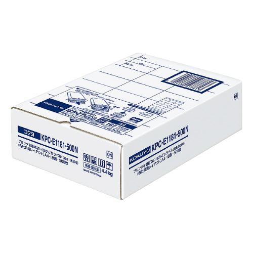 コクヨ KPC-E1181-500N プリンタを選ばない はかどりラベル A4 18面 500枚
