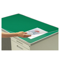 コクヨ (マ-168) デスクマット硬質W アクリル製 グリーン 透明 下敷き付 1600×800デスク用☆