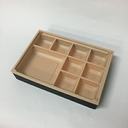 【高級弁当】ワン折重 81×55黒焼杉/HIV底/共蓋 (400セット)