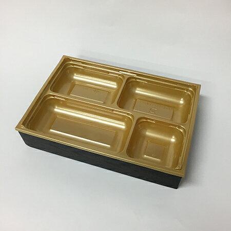 【高級弁当】ワン折重 81×55黒焼杉/SP-4金底/共蓋 (400セット)