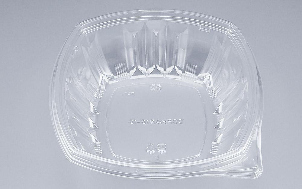 COPタル角19-19本体 (600個/ケース) 使い捨て サラダ 惣菜 麺 ボウル 透明 プラスチック容器 ワンプッシュオープン