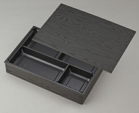 【高級弁当】ワン折重 90×60黒焼杉/J-4黒底/共蓋 (100セット)