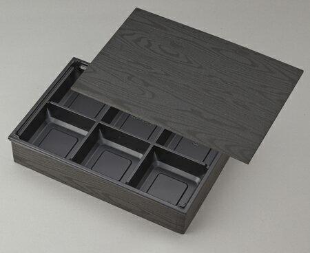 【高級弁当】ワン折重 90×60黒焼杉/J-6黒底/共蓋 (100セット)ワンオリ/弁当容器/六つ仕切り/6つ仕切/ 使い捨て