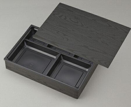 使い捨て 高級弁当容器 ワン折重 90×60黒焼杉/Y黒底/共蓋 (100セット) 高級弁当 ワンオリ 使い捨て 弁当容器 業務用