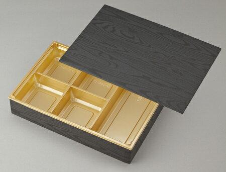 【高級弁当】ワン折重 90×60黒焼杉/J-5金底/共蓋 (100セット)