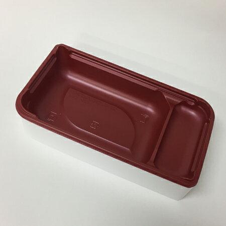 【高級弁当】ワン折SPN 70×37ホワイト/赤底/K7蓋 (400セット)