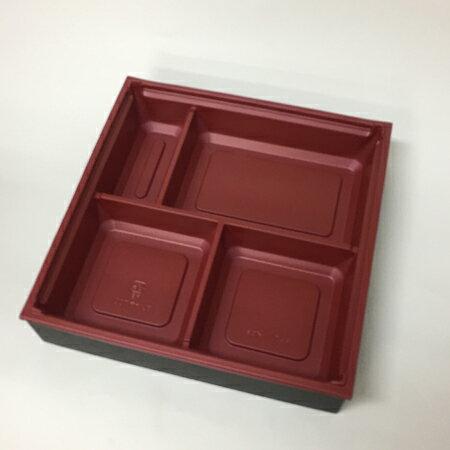 【高級弁当】ワン折重 70D黒焼杉/赤底/共蓋 (400セット)