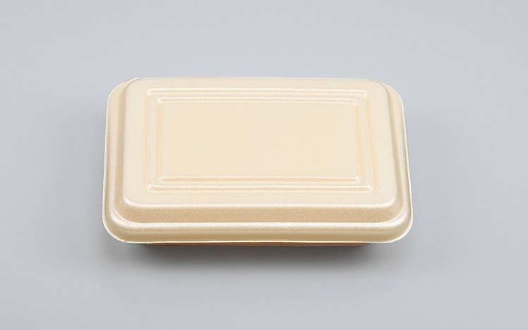 発泡容器 ★クリーム色 発泡容器 VK-63 クリーム 折蓋角丸小 (1200枚/ケース)《メーカー直送》シーピー化成 使い捨て 業務用 たこ焼き 焼きそば テイクアウト フードパック