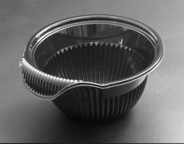 クリーンフォーユー BOWL 本体(M)黒 (600個/ケース)《メーカー直送》リスパック 使い捨て サラダ プラスチック容器 惣菜 テイクアウト ボウル 透明容器