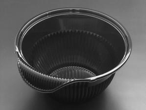 クリーンフォーユー BOWL本体(L)黒 (300個/ケース)リスパック メーカー直送 使い捨て サラダ プラスチック容器 惣菜 テイクアウト ボウル 透明容器