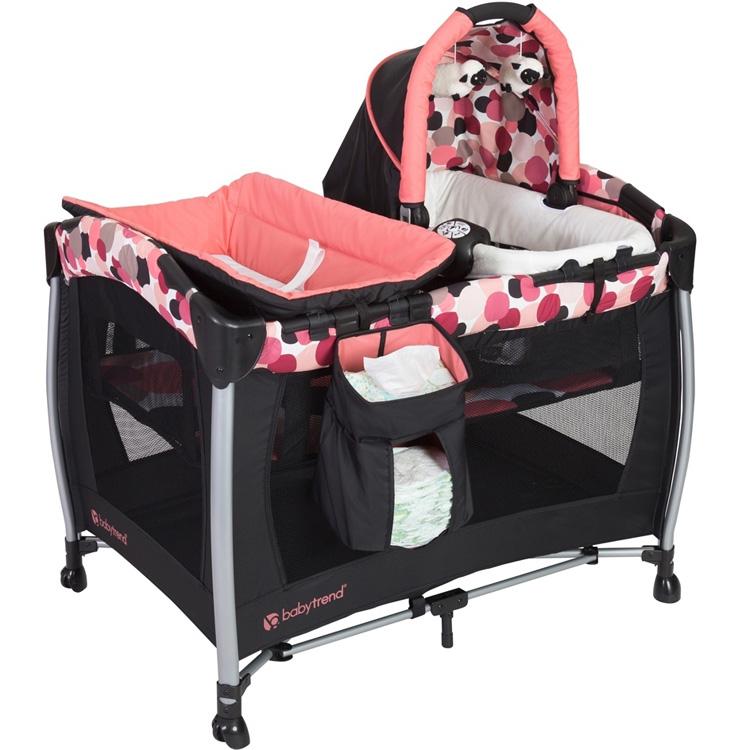 Baby trend リゾート エリート ナーサリー センター ドッティ ピンク ベビーベッド ベビートレンド