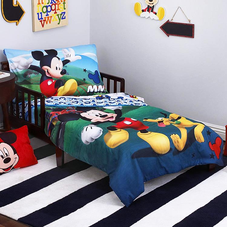 CrownCrafts ディズニー ミッキーマウス 子供 寝具 4点 セット トドラーベッディング