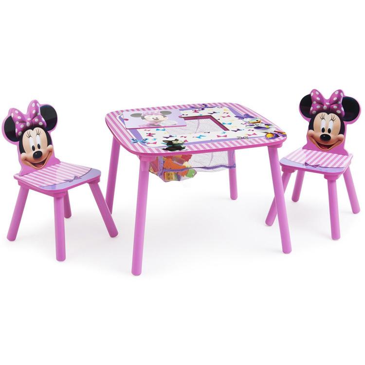 【P5倍・4月23日20時~+クーポン有】ディズニー ミニーマウス テーブル&チェア 収納付き 3点セット デルタ delta