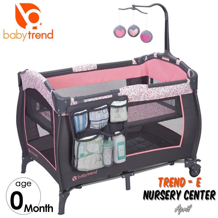 【割引クーポン有】ベビートレンド ベビーベッド 折りたたみ プレイヤード ナーサリーセンター ハート TREND Baby Trend