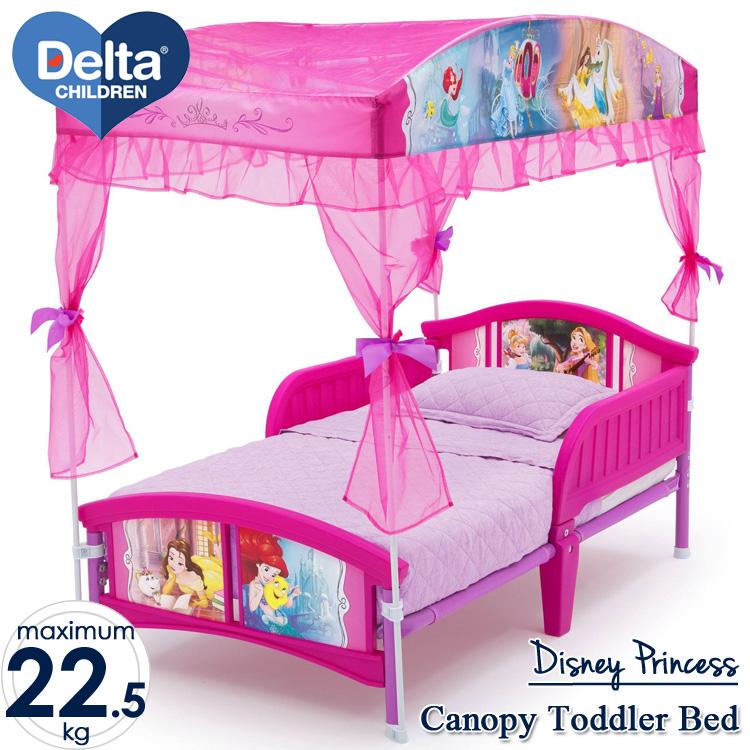 【ママ割エントリーP5倍】Online ONLY(海外取寄)/ ディズニー プリンセス キャノピー付き 子供用ベッド 女の子 2歳から Delta デルタ