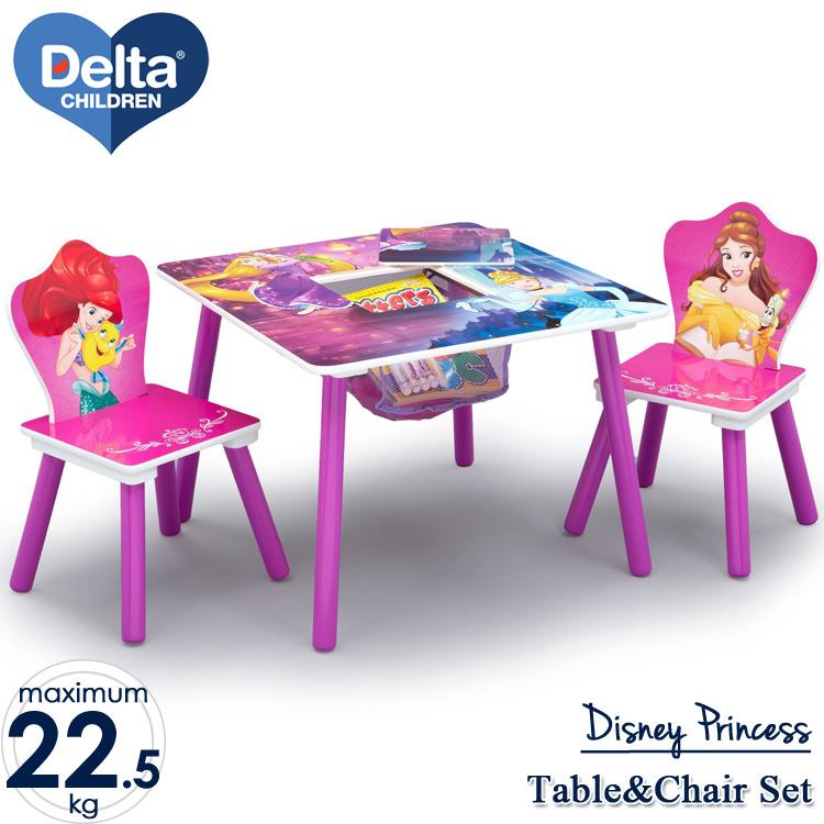【割引クーポン有】6月下旬入荷予約販売/ ディズニー プリンセス テーブル&チェア 収納付き 3点セット デルタ delta