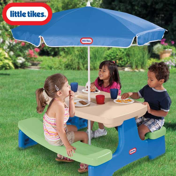 リトルタイクス ピクニックテーブル パラソル付き ブルーグリーン Littletikes 629952 /配送区分A
