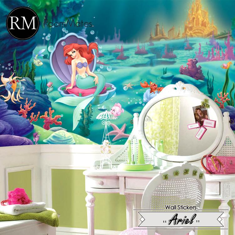 Online ONLY(海外取寄)/ ディズニー アリエル ウォールシール XL ウォールペーパー 壁画 子供部屋 壁紙 RoomMates