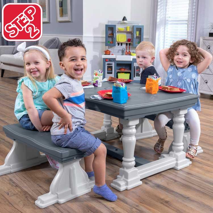 【割引クーポン有】3点セット キッズ テーブル ベンチセット 4人掛け 子供 デスクセット ステップ2 STEP2/配送区分A