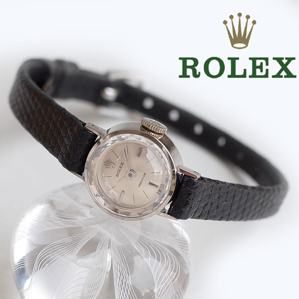 メンテ済 素敵 ロレックス ROLEX 2632 プレシジョン レディースミニミニ K18WG 金無垢 カットガラス 1962年製 最小 アンティーク 手巻 腕時計 ケース 箱付 OH済 1年保証iXZOTkuP