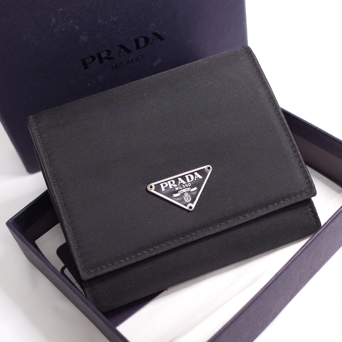 売店 プラダ 三つ折り財布 コンパクト 三角ロゴ ナイロン ブラック シンプル 箱 中古 PRADA 新着セール レディース メンズ