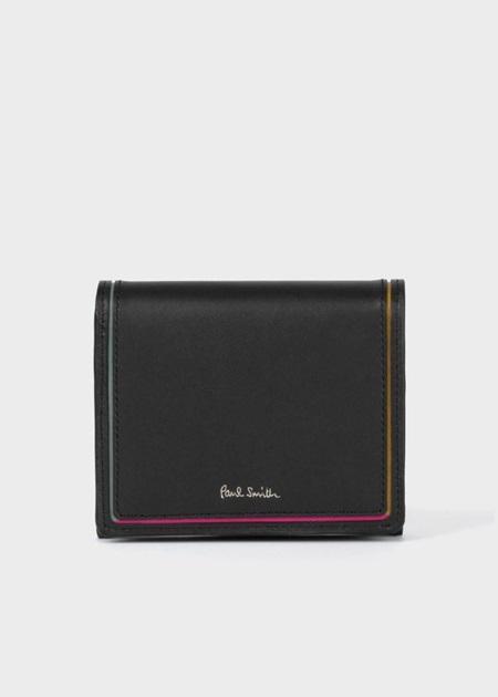 ポールスミス 折財布 スワールカラーライン 2つ折り財布 ブラック Paul Smith