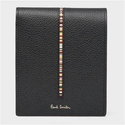 ポールスミス 折財布 インセットマルチストライプ 二つ折り ブラック Paul Smith