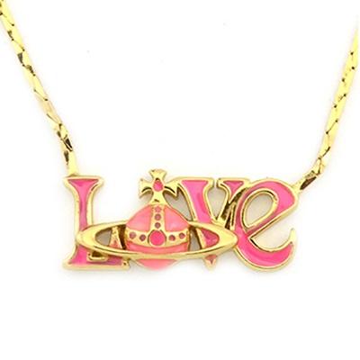 ヴィヴィアンウエストウッド ネックレス LOVE ゴールド/ピンク Vivienne Westwood